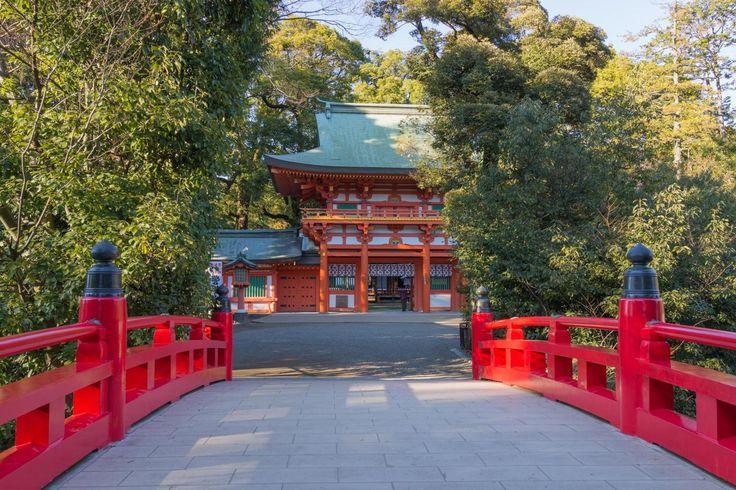 view to two-storied gate to Hikawa shrine. Saitama
