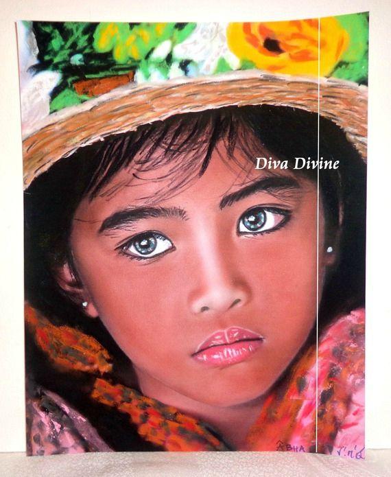 Peinture Pastel Sec pour Tableau Bohème Ethnique Indien, ° ÂBHA ° PEINT A LA MAIN - PASTEL SEC
