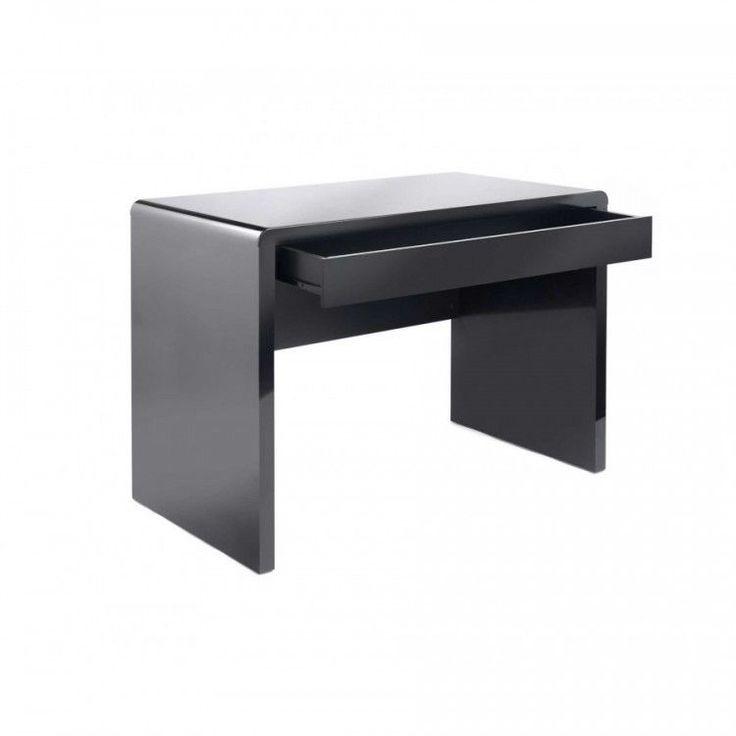 Black Computer Workstation Desk Wood Office Table Drawer Furniture Modern Home