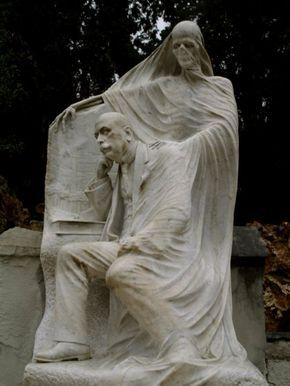 """Almost hated to put this in """"Grave Beauty"""" but I guess it is beautiful to some. Angel of Death used to be depicted this way...later it became more common to be a kind angel helping with the transition to death. Some say this scary depiction served to keep living people on the straight and narrow! (Cemetery de Montjuic in Barcelona)"""