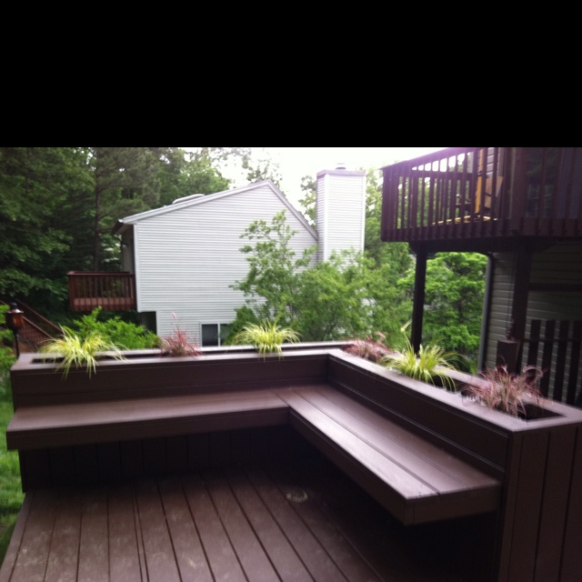 Deck Design Built In Bench W Planters Deck Pinterest