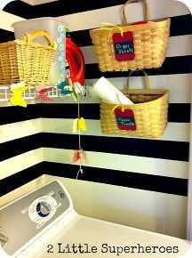 my completely free laundry room makeover, home decor, laundry rooms, Baskets for extra storage