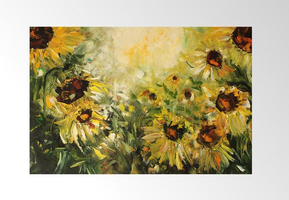 Sunny Sunflowers Oil Painting Art Oryginal Idea by BarbaraGallery