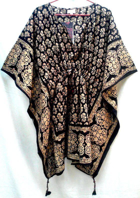 Rich Organic Black Boho Chic Floral Anokhi Hand block print Cotton Kaftan Tunic top One size