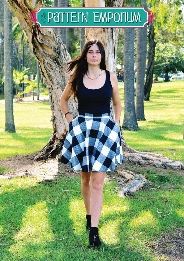 Ladies Skater Skirt PDF Pattern Pictured: Skater Skirt with Simple Centred Zip & Hidden Pockets  http://www.patternemporium.com/