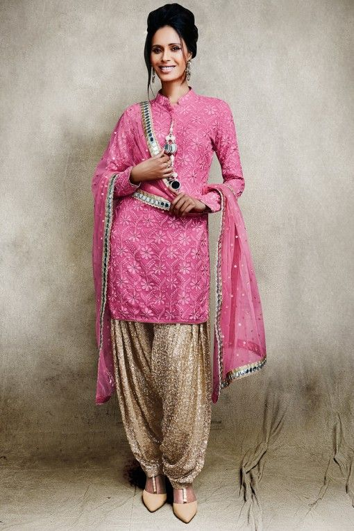 Vikram Phadnis Pink And Beige Sequin Patiala Suit