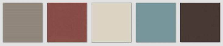 Revere Pewter Color Scheme | Left to right: Benjamin Moore Squirrel Tail, Burnt Russet, Edgecomb ...