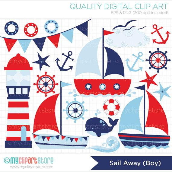 Sailing / Sail Away Boy Clip Art / Digital by MyClipArtStore, $3.99                                                                                                                                                                                 Mais