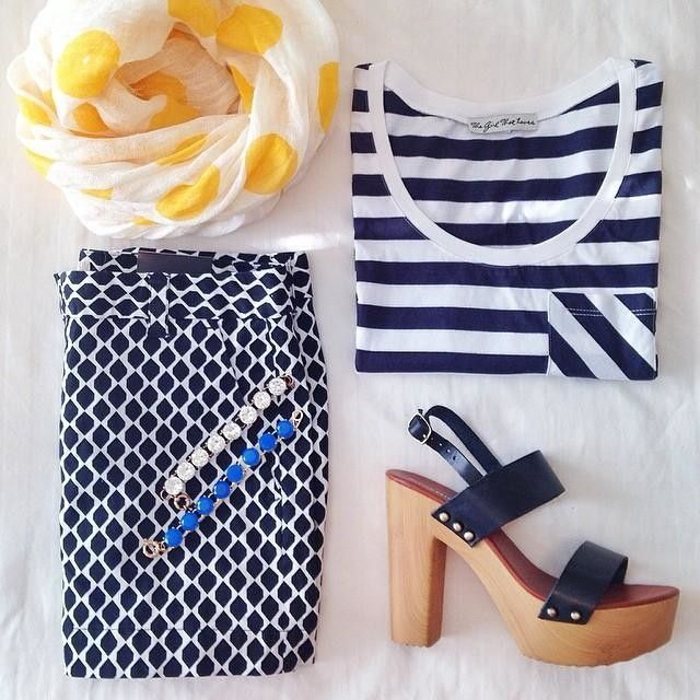 Summer pattern mixing - navy stripes and pops of yellow - modern nautical.