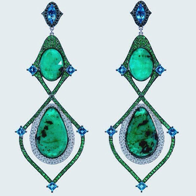Gold earrings emeralds aquamarines and diamonds #dioneaorcinifinejewelry