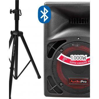 Cabina de Sonido Activa 1000W Bluetooth y Stand Audiopro PRO400BT-USB- Negro