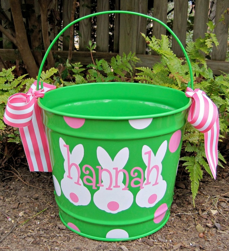 Personalized Easter Bucket 10 QT assorted colors. $28.00, via Etsy.