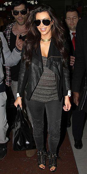 : Black Leather Jackets, Kardashian Style, All Black, Kim Kardashian, Black Draped, Draped Leather, Black Chic, Gray Motocross