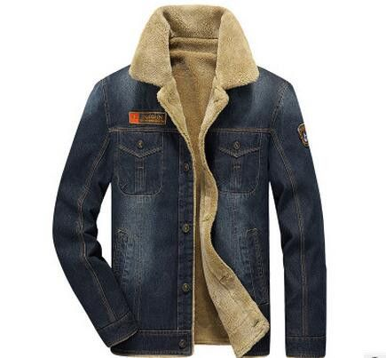 Men Jacket and Coats Denim Jacket Mens Jeans Jacket Thick Warm Outwear Cowboy