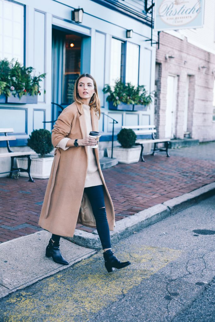 Nordstrom Topshop Long Wool Coat, Moto Jeans and Saint Laurent Jodphur Booties on Prosecco and Plaid