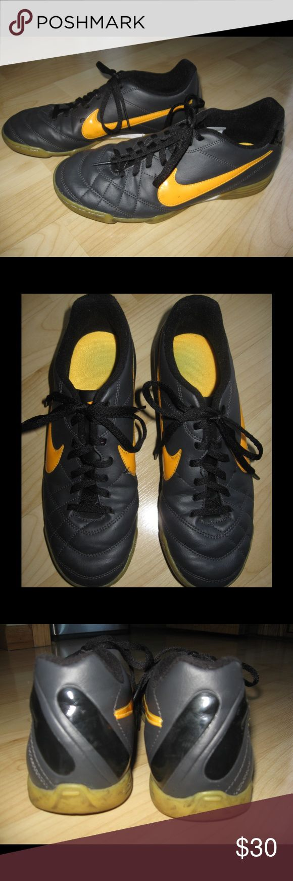 Nike Soccer Shoes Charcoal gray & yellow rubber sole soccer shoes. In EUC. Ask any questions! 📦Same/ Next Day Shipping 🚫Paypal/ Trades ✅Bundles 🚫Smoke Free Nike Shoes Athletic Shoes