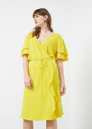 Wrap neckline dress -  Plus sizes | Violeta by MANGO USA