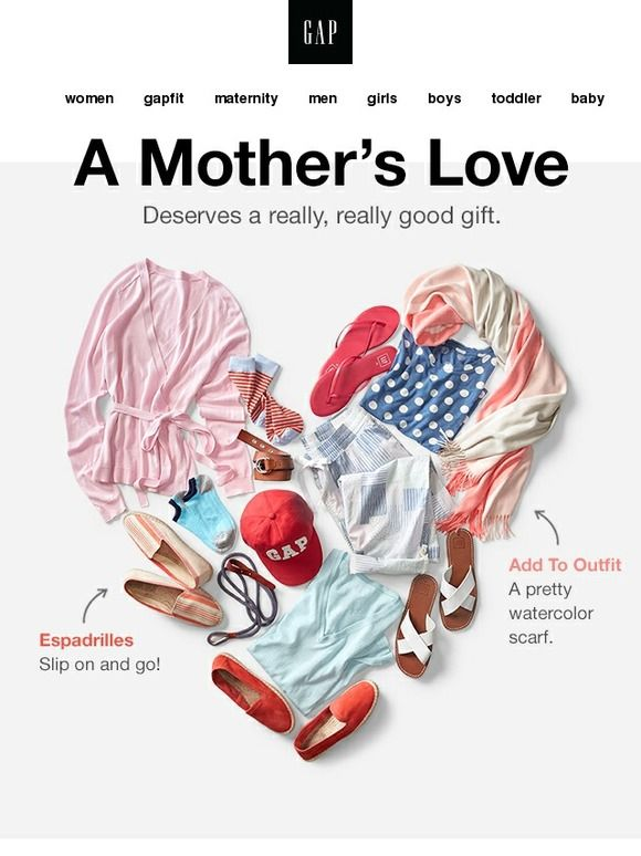 we ❤ mom - Gap Mother's Day Email Newsletter Design