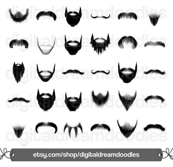 Beard Clipart, Beard Clip Art, Moustache Clipart, Mustache Clip Art, Goatee Image, Five O Clock Shadow, Stubble Scrapbook, Digital Download