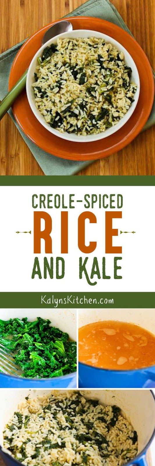Creole-Spiced Rice and Kale is a tasty rice dish with lots of healthy kale! [found on KalynsKitchen.com]
