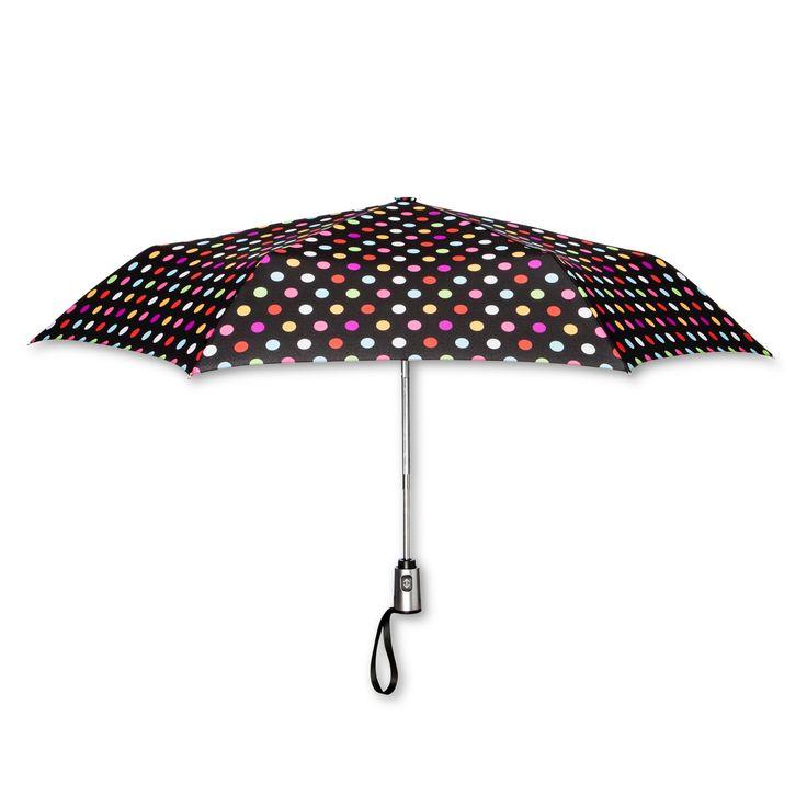 ShedRain Compact Auto Open/Close Umbrellas - Black Polka Dot,
