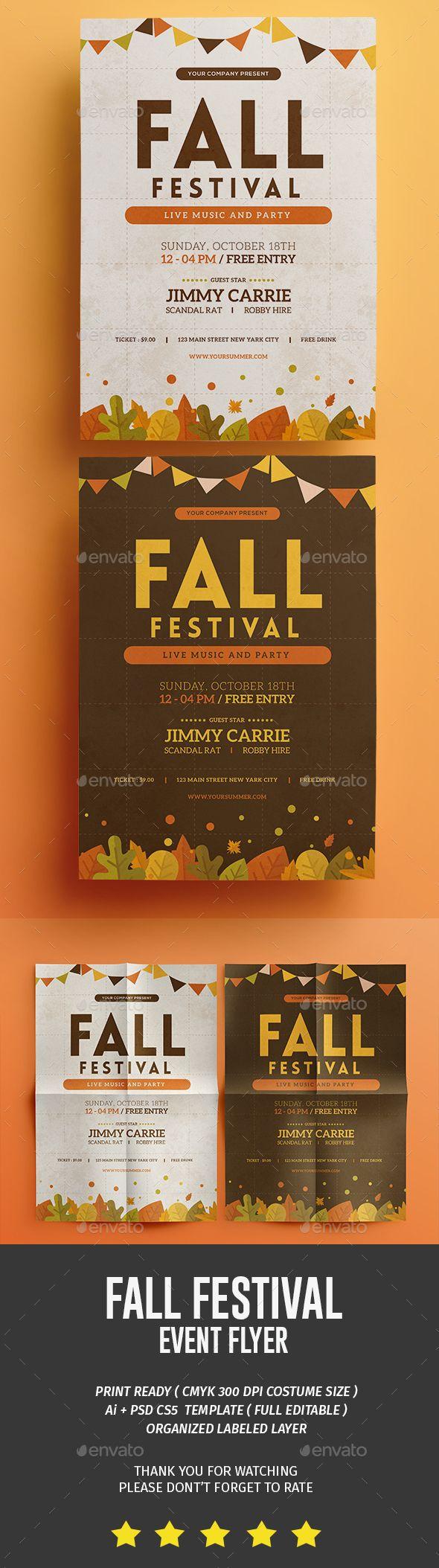 Fall Festival Flyer Template PSD, AI Illustrator
