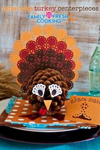 Pine Cone Turkey Centerpieces  - DriedDecor.com