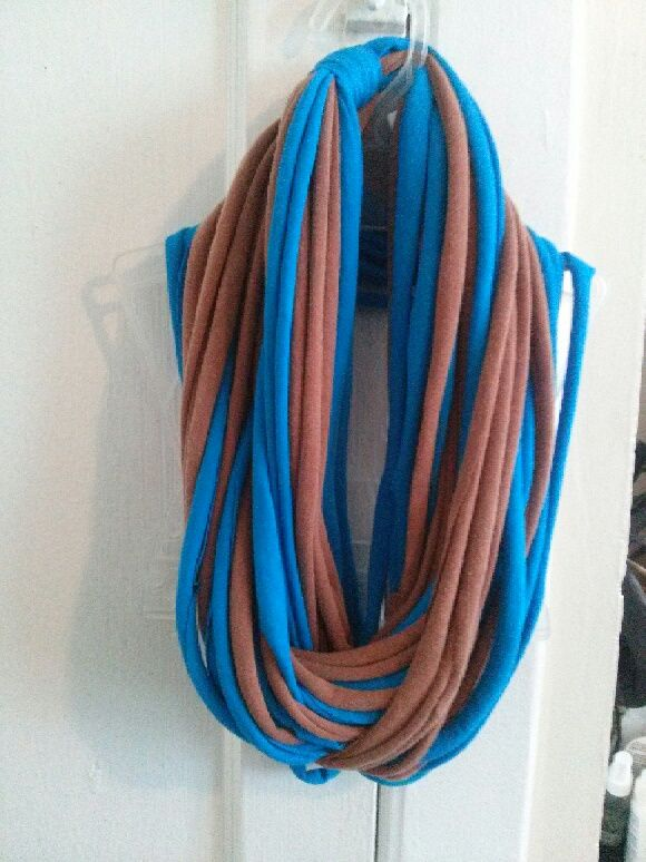 This blue and brown rope scarf was made from old t-shirts.