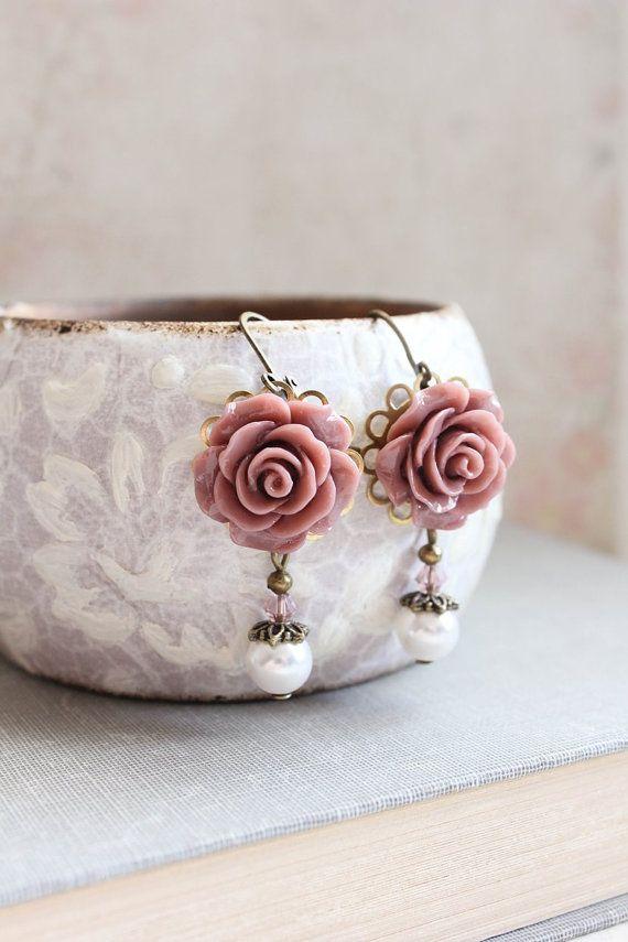 Rose Earrings Dusty Rose Pink Pearl Drop Floral by apocketofposies
