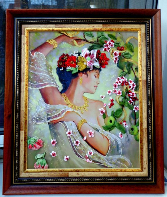 Silkribbonembroidery Embroidered picture  Embroidery with silk