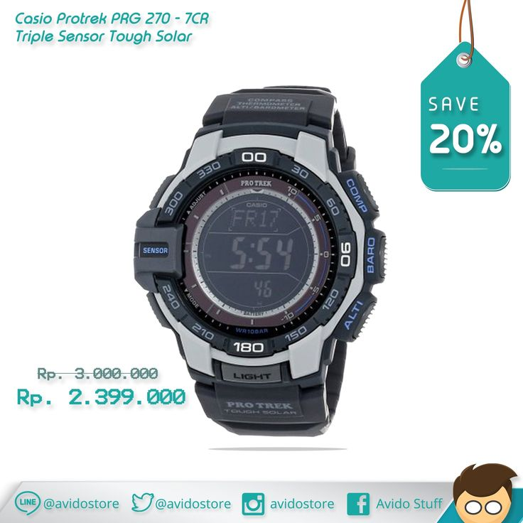 Information about Casio Protrek PRG 270 - 7CR Triple Sensor Tough Solar Watch Original :   - Aviator-inspired watch in resin featuring altimeter, barometer, and world time - Solar-powered Japanese quartz movement with digital display - Mineral crystal dial window - Features auto EL backlight with after glow, sunrise/sunset data, 1/10-second stopwatch, alarms, power-saving function, and countdown timer - Water-resistant to 330 feet (100 M): suitable for snorkeling, as well as swimming, b