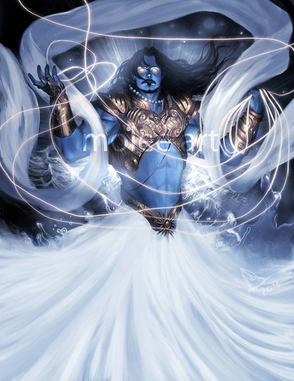 In Vedic religion, Varuna, is a god of the water and of the celestial ocean, as well as a god of law of the underwater world. In Hindu mythology, Varuna continues to be considered the god of all forms of the water element, particularly the oceans.