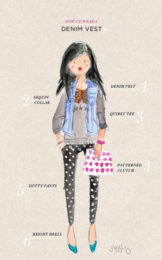 oh joy   how i'd wear a denim vest: Denim Vests, Outfit Ideas, Cute Summer Outfit, Oh Joy, Denim Jackets, Style Guide, Denim Vest Outfit, I D Wear, Style Tips