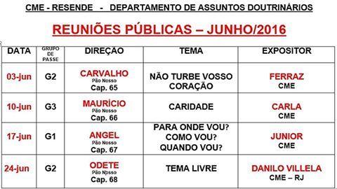 Calendário de Palestras Públicas do mês de JUNHO da Cruzada Militar Espírita-Resende - RJ - http://www.agendaespiritabrasil.com.br/2016/06/03/calendario-de-palestras-publicas-do-mes-de-junho-da-cruzada-militar-espirita-resende-rj/