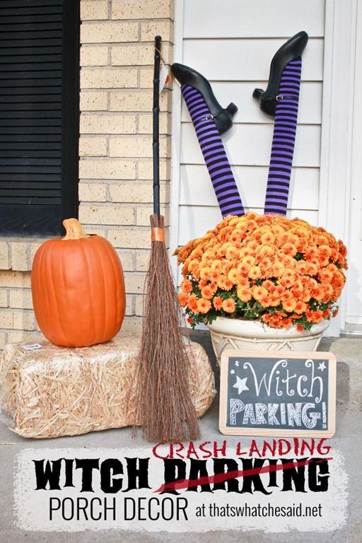 Witch Parking...er Crash Landing Porch Decor from *thatswhatchesaid.net* #halloween #decor