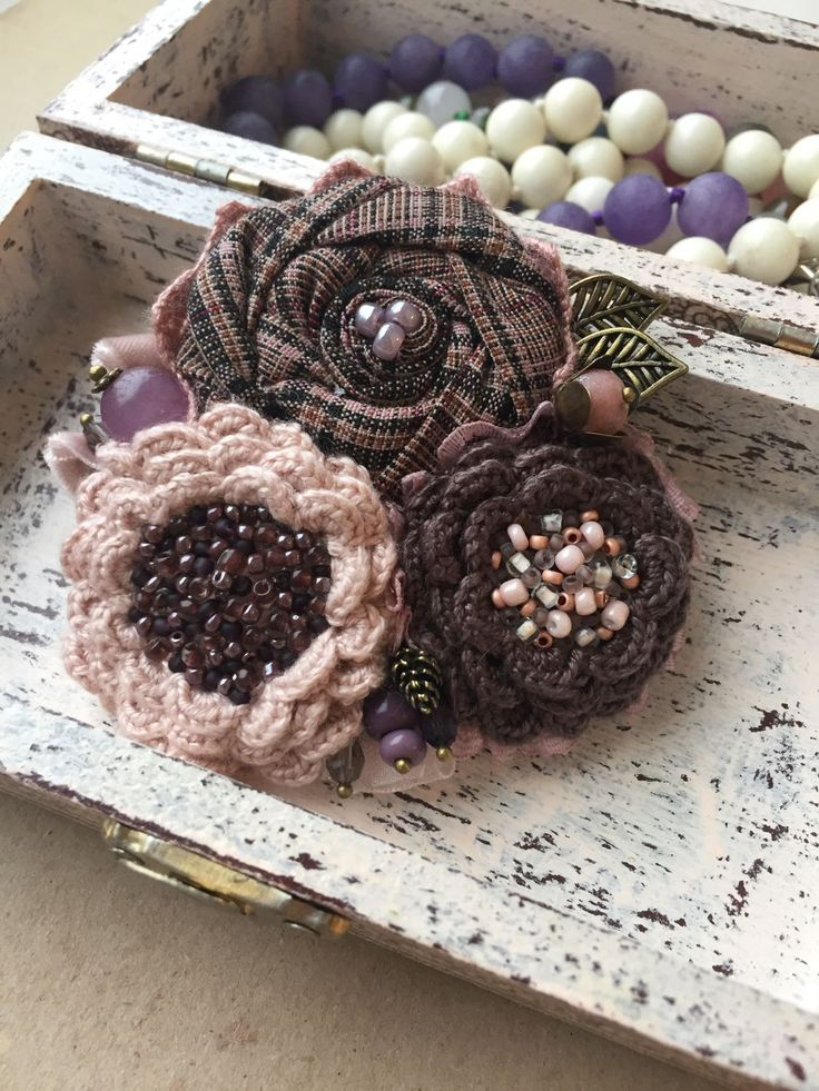 """Купить Вязано-текстильная брошь """"На закате"""" - брошь ручной работы, брошь цветок"""