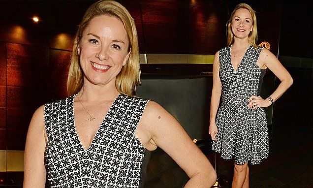 Tamzin Outhwaite flaunts her toned legs in a fun and flirty dress
