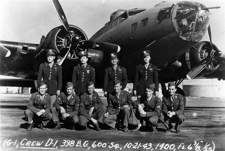 A crew poses with their plane 381st Bomb Group WWII