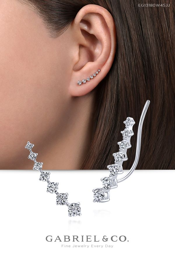 14K White Gold Graduated Round Diamond Ear Climber Earrings
