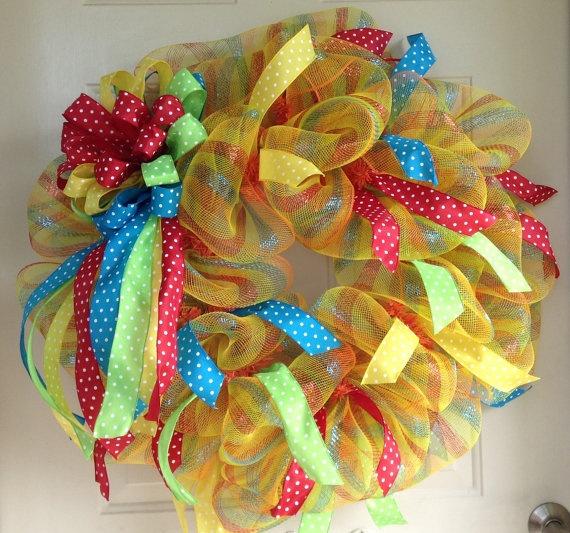 Fun Teacher Mesh Wreath by TowerDoorDecor on Etsy, $50.00