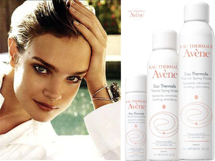 Natalia Vodianova chose spray Eau Thermale Avène for her daily routine.