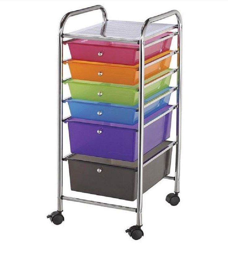6 drawer rolling storage cart hobby craft scrapbook toy for Rolling craft cart with drawers