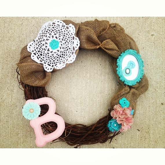 Shabby Chic Wreath with Letter B and Burlap. Perfect for Baby Shower or Little Girl's Room. Pink and Mint.