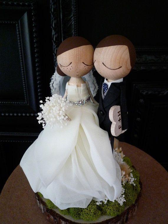 Custom Wedding Cake Toppers with Custom Wedding Dress, by bthanari on Etsy.