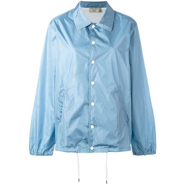 Maison Kitsuné snap fastening raincoat (1 200 PLN) ❤ liked on Polyvore featuring outerwear, coats, blue, maison kitsuné, blue raincoat, mac coat, blue coat and rain coat