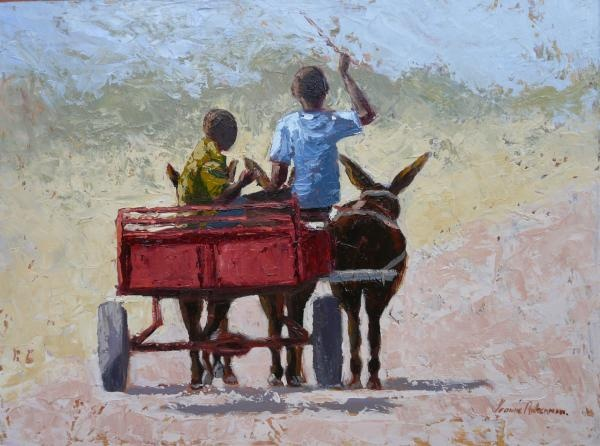 Red Cart Painting  - Red Cart Fine Art Print