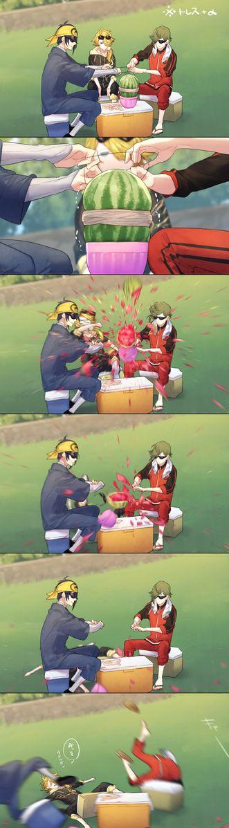 埋め込み画像 Touken Ranbu exploding watermelon challenge >>> what a late reactions