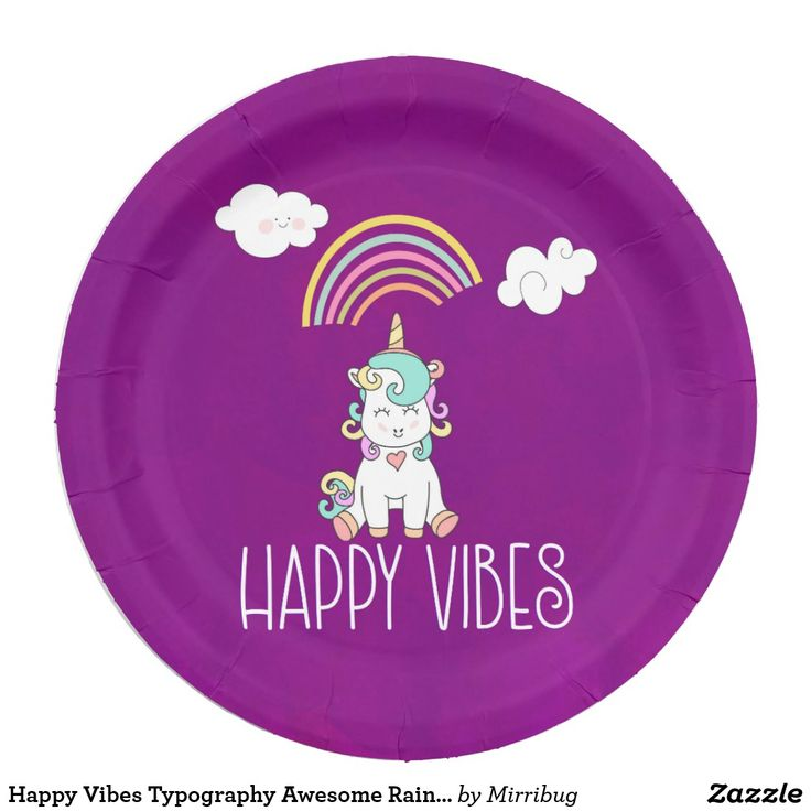 Happy Vibes Typography Awesome Rainbow & Unicorn