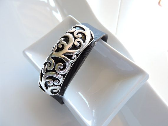Gorgeous Fitbit Charge/ HR Bracelet Cover ~ Slide-on Charm - Beautiful Silver Bar with Ornate Decorative Scrolls FitBit Charm