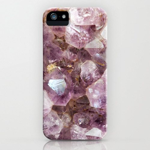 iPhone Mobile Phone Case - Mineral Photograph of Amethyst Crystals - Amethyst and Gold via Etsy